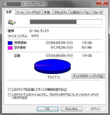 システムドライブ(SSD)のプロパティ