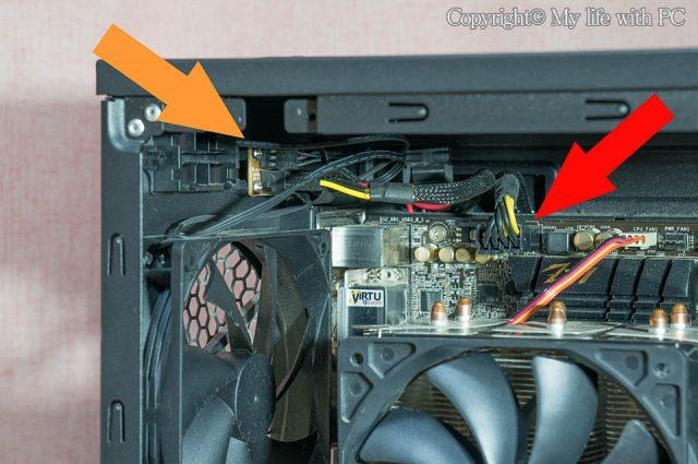 CPU用電源ケーブルとファン用ペリフェラル電源ケーブル
