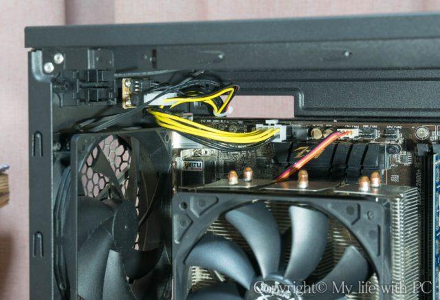 延長ケーブルを使ったCPU用電源ケーブルとファン用ペリフェラル電源ケーブル